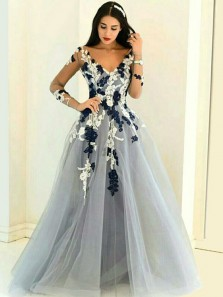 Unique A-Line V Neck Long Sleeve Grey Tulle Long Prom Dresses with Lace,Charming Evening Party Dresses