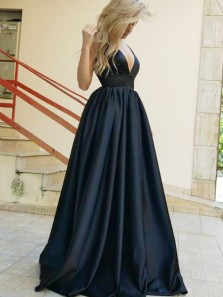 Classy A-Line V Neck Open Back Black Satin Long Prom Dresses with Pockets,Charming Evening Party Dresses
