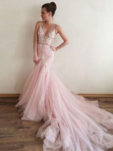 Unique Mermaid V Neck Backless Pink Tulle Wedding Dresses with Lace