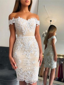 Sexy Bodycon Off the Shoulder Open Back Champagne White Lace Knee Length Cocktail Party Dresses,Evening Prom Dresses