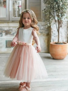 A-Line Round Neck White Satin Pink Tulle Flower Girl Dresses with Bow