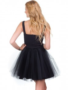 Simple A-Line Straps Open Back Pink Tulle Homecoming Dresses Short Prom Dresses Under 100,Cute Cocktail Party Dresses DG0306004