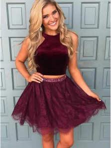 Cute A Line Two Pieces Maroon Homecoming Dresses,Short Lace Prom Dresses