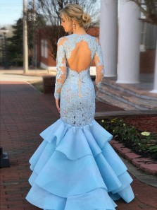Stunning Mermaid Round Neck Open Back Blue Satin Long Prom Dresses with Appliques,Formal Party Dresses