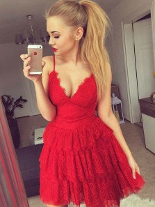 A-Line Spaghetti Straps V Neck Red Lace Tiered Short Homecoming Dress,Short Cocktail Party Dresses