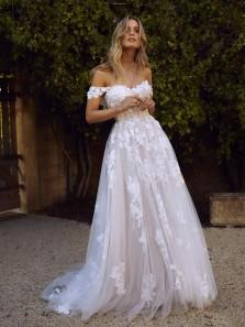 Modest A-Line Off the Shoulder Open Back White Beach Wedding Dresses