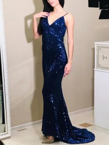 Sparkly Mermaid V Neck Open Back Navy Blue Sequins Long Prom Evening Dresses,Formal Christmas Party Dresses