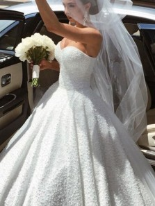 Sparkly Ball Gown Sweetheart White Sequins Wedding Dresses