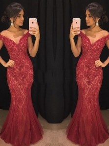 Stunning Mermaid Off the Shoulder Dark Red Lace Long Prom Dresses with Beads,Formal Party Dresses