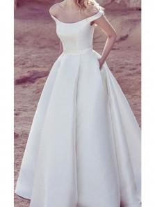 Vintage A-Line Off the Shoulder Open Back Ivory Satin Wedding Dresses,Bridal Gown with Pockets