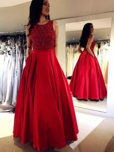 Gorgeous A-Line Round Neck Open Back Red Satin Long Prom Dresses with Beading,Quinceanera Dresses