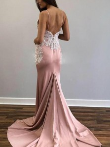 Stylish Mermaid Spaghetti Straps Backless Blush Satin Long Prom Dresses with White Lace,Formal Party Dresses