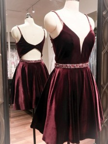 Princess A-Line V Neck Open Back Burgundy Velvet Beaded Belt Short Homecoming Dresses Under 100, Cocktail Party Dresses 1908070011