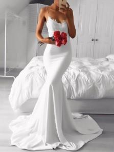 Modest Mermaid V Neck Spaghetti Straps Open Back White Elastic Satin Long Prom Dresses with Lace