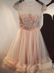 Chic Tulle Scoop Neckline Cap Sleeves A-line Homecoming Dresses With Pearls