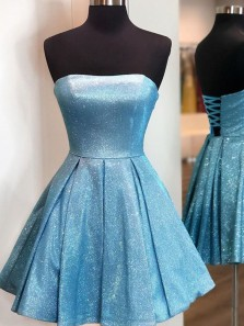 Sparkly A-Line Strapless Lace-up Blue Sequins Satin Short Prom Dresses,Homecoming Dresses with Pockets