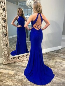 Sparkly Mermaid Halter Cross Back Royal Blue Satin Long Prom Dresses with Train,Formal Party Dresses