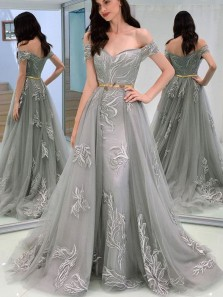 Elegant A-Line Off the Shoulder Open Back Grey Tulle Long Prom Dresses with Appliques,Evening Party Dresses