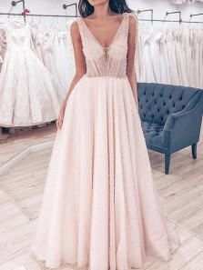 Romantic A-Line V Neck Open Back Ivory Long Prom Dresses with Pearls,Princess Wedding Dresses