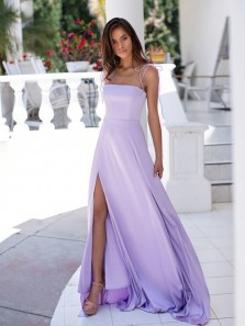 A-Line Spaghetti Straps Open Back Lavender Chiffon Long Prom Dresses with Split