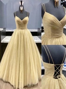 Charming A-Line V Neck Gold Sparkly Tulle Long Prom Dresses,Glitter Formal Evening Party Dresses