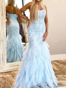 Charming Mermaid Strapless Sky Blue Tulle Prom Dresses with Appliques