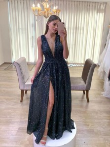 Sparkly A-Line V Neck Backless Black Sequin Long Prom Evening Dresses with High Split,Formal Party Dresses