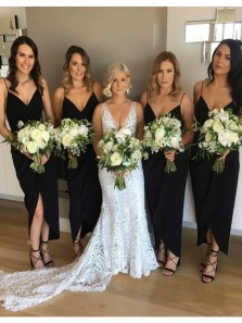 Simple Sheath V Neck Black Satin Ankle Length Bridesamid Dresses with Split Front
