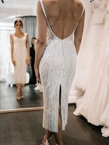 Sparkly Bodycon Sweetheart Open back White Sequins Beaded Ankle Length Wedding Dresses with Back Slit