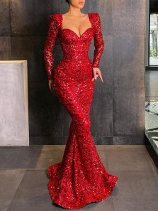 Elegant Mermaid Sweetheart Long Sleeve Red Sequins Long Prom Evening Dresses