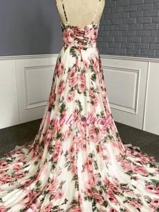 Modest A-Line V Neck Floral Printed Satin Long Prom Dresses Formal Evening Party Dresses
