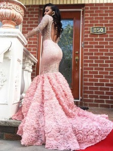 Glamorous Mermaid Round Neck Open Back Pink Beaded 3D Flower Prom Dresses,2020 Formal Evening Party Dresses
