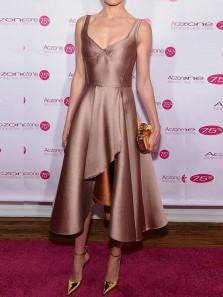 A-Line V Neck Open Back Brown Satin Tea Length Prom Dresses