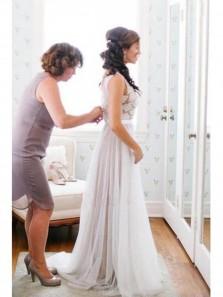 Elegant Scoop Neck Lace A Line Tulles Flowy Beach Wedding Dress