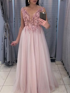 Gorgeous A-Line V Neck Open Back Blush Tulle Long Prom Dresses with Appliques,Evening Party Dresses
