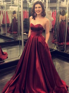 Stylish A-Line Sweetheart Open Back Burgundy Satin Long Prom Dresses with Pockets,Evening party Dresses