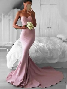 Stunning Mermaid Sweetheart Open Back Pink Elastic Satin Long Prom Dresses,Evening Party Dresses