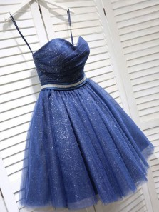 Sparkly A-Line Sweetheart Open Back Navy Sequins Short Homecoming Dresses,Short Prom Dresses