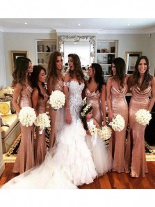 Sparkly Mermaid Cowl Neck Spaghetti Straps Rose Gold Sequins Long Bridesmaid Dresses with Split
