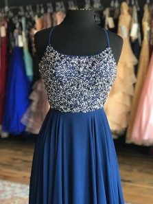 Luxurious A-Line Scoop Neck Cross Back Navy Blue Beaded Long Prom Dresses,Formal Party Dresses