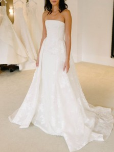 Gorgeous A-Line Strapless Open Back White Lace Wedding Dresses