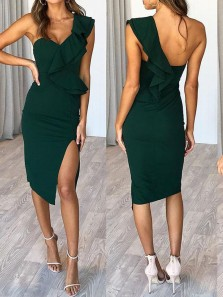 Chic Body con One Shoulder Open Back Army Green Satin Wedding Party Dresses,Prom Party Dresses,Evening Dresses