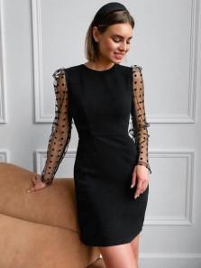Elegant Sheath Round Neck Long Sleeves Little Black Dresses Wedding Guest Dresses Tight Black Homecoming Dresses
