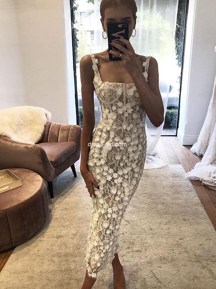 Elegant Sheath Square Neck Lace Ankle Length Wedding Dresses,Short Bride Dresses