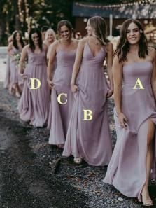 Simple A-Line Light Purple Chiffon Long Bridesmaid Dresses Under 100