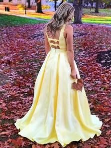 Unique A-Line V Neck Open Back Yellow Satin Long Prom Dresses,Elegant Evening Party Dresses
