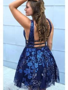 Pretty A-Line V Neck Open Back Royal Blue Lace Short Homecoming Dresses Formal Party Dress