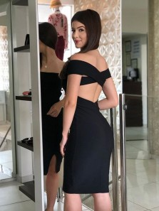 Sexy Bodycon Off the Shoulder Open Back Black Elastic Satin Short Cocktail Party Dresses,Short Formal Evening Dresses with Split