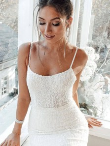 Unique Mermaid Scoop Neck White Sequins Beaded Wedding Dresses with Train