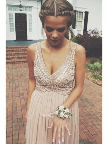 Cute Elegant Evening Dress Prom Dress,Chiffon Evening Dress,Sexy V Neck Evening Gown with Beading,Long Homecoming Dress